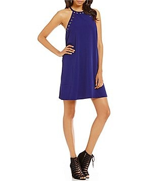 Sugarlips Grommet Trim Halter Sleeveless Dress