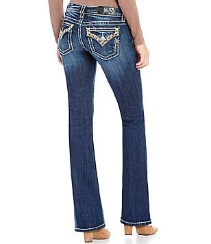 Miss Me Embellished-Pocket Low-Rise Bootcut Jeans
