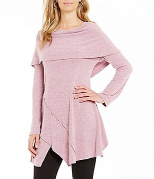 Calessa Super Soft Cowl Neck Uneven Hem Tunic