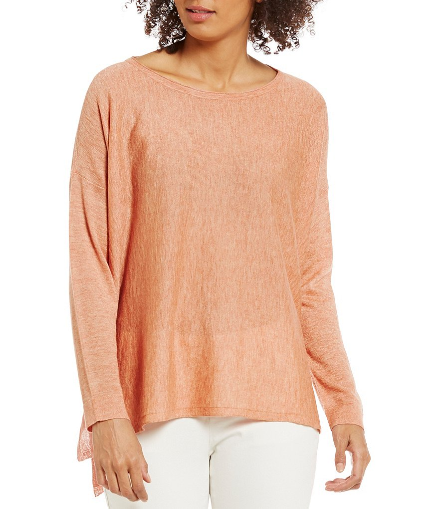 Eileen Fisher Petites Bateau Neck Tencel Alpha Box-Top