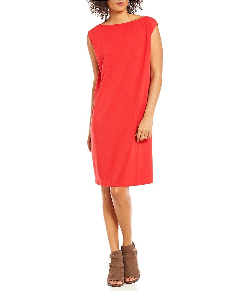Eileen Fisher Petites Viscose Jersey Cap Sleeve Dress
