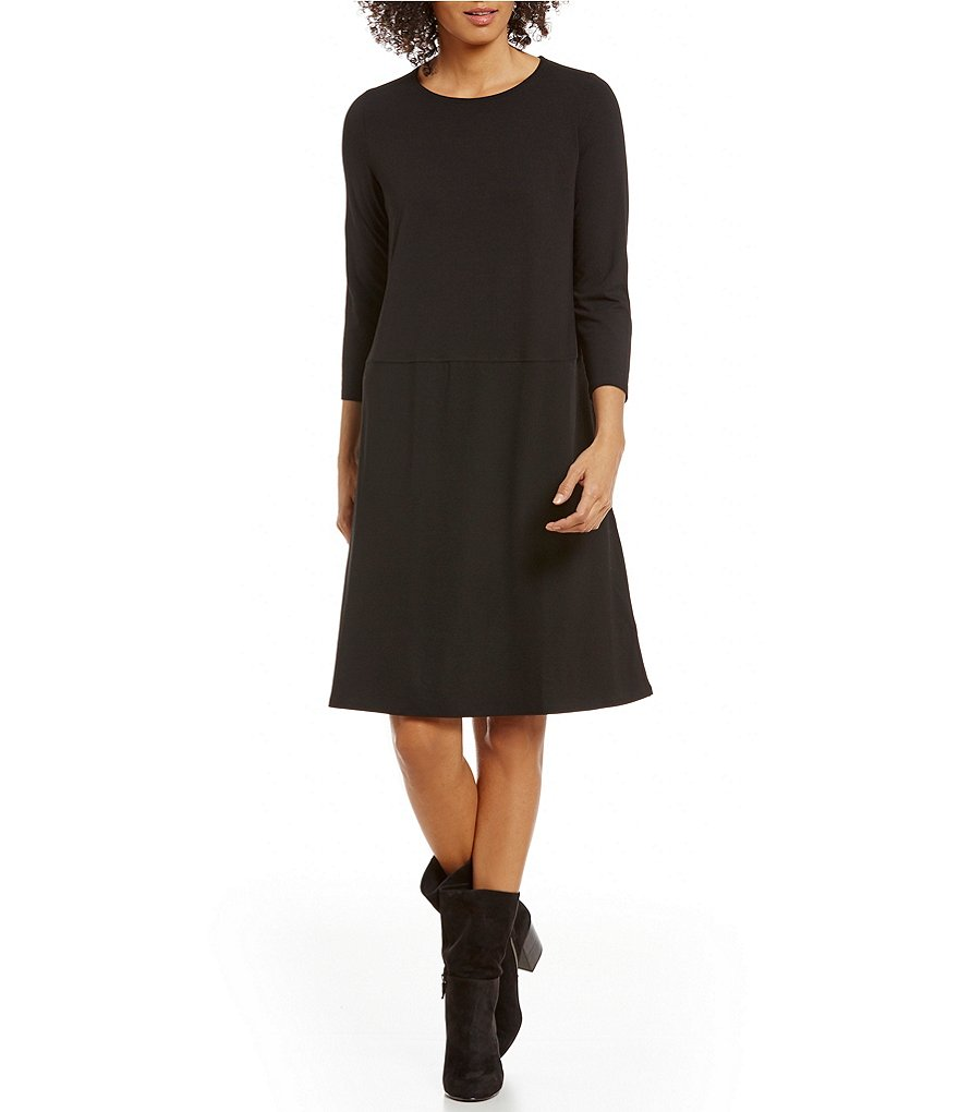 Eileen Fisher Petite Jewel Neck 3/4 Sleeve Solid Jersey Dress