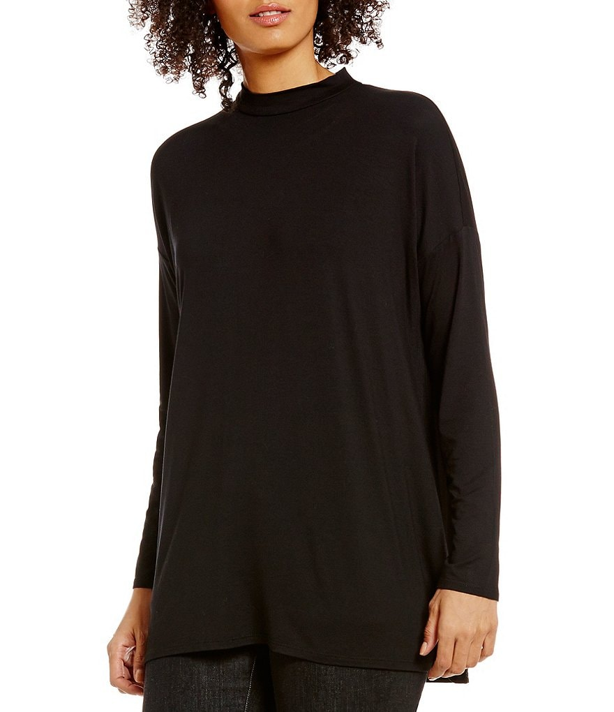 Eileen Fisher Petite Mock Neck Long Sleeve Solid Tunic