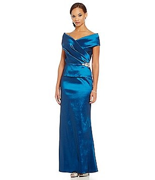 Emma Street Portrait-Collar Mock 2-Piece Gown