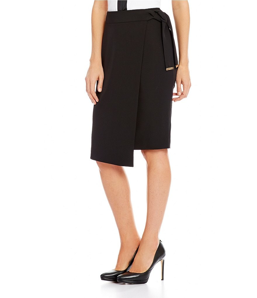 Calvin Klein Soft Crepe Belted Wrap Skirt