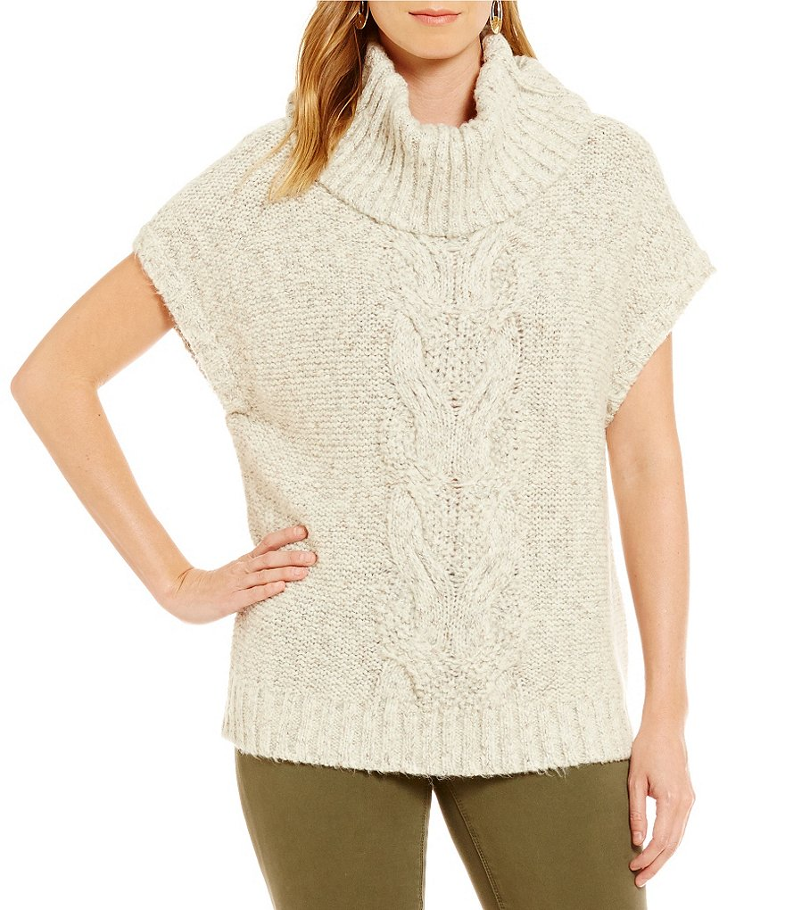 Two By Vince Camuto Chunky Front Cable Stitch Turtleneck Sweater