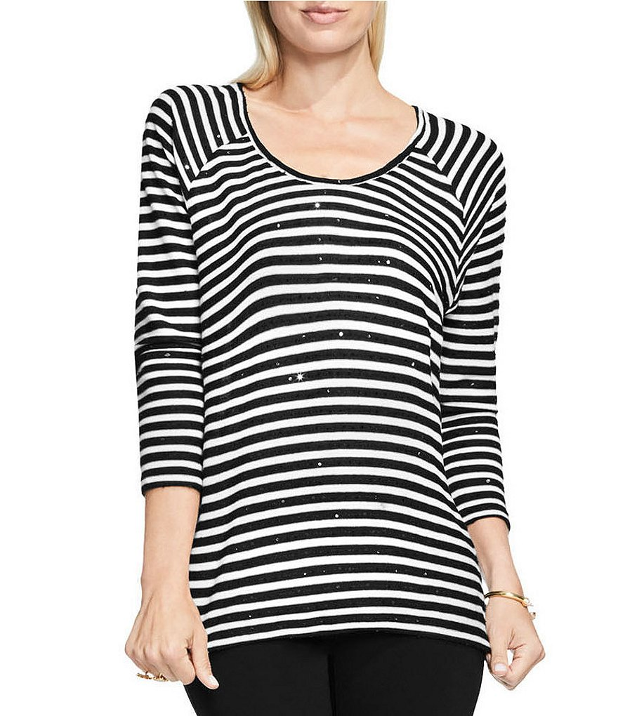 Two By Vince Camuto Sequin Stripe Saturday Shirt
