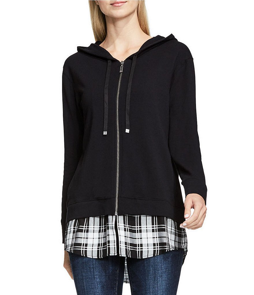 Two By Vince Camuto Plaid Double Layer Shirttail Hem Hoodie