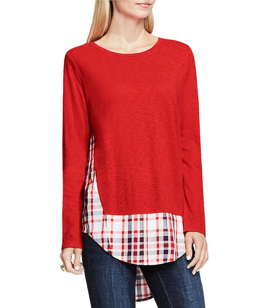 Two By Vince Camuto Mixed Media Check Ensemble Top