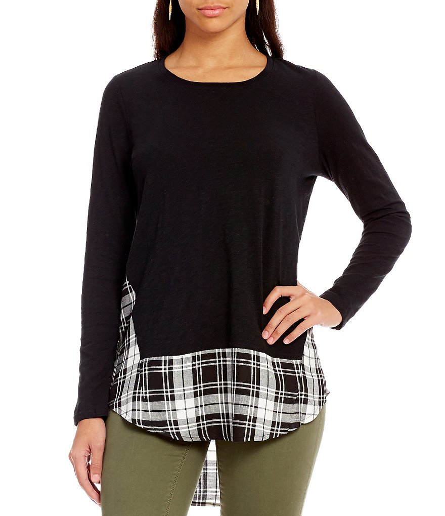 Two By Vince Camuto Mixed Media Shadow Check Top