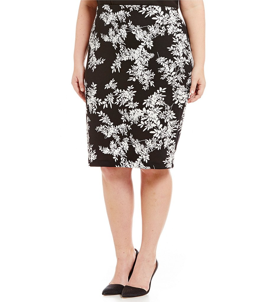 Vince Camuto Plus Delicate Foliage Scuba Pencil Skirt