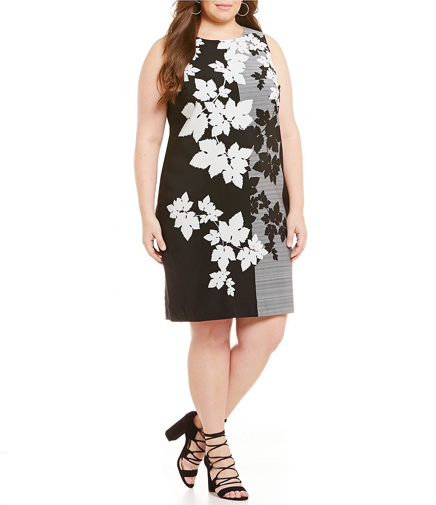 Vince Camuto Plus Floral Screen Shift Dress