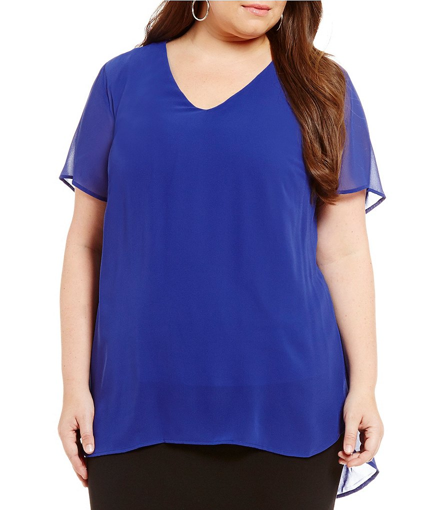 Vince Camuto Plus Shirttail V-Neck Blouse