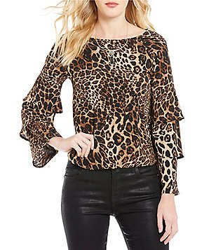 Skies Are Blue Tiered Sleeve Leopard Print Top