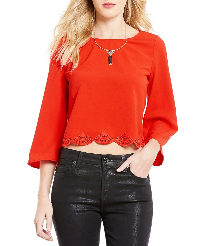 Skies Are Blue Round Neck Bell Sleeve Crop Top