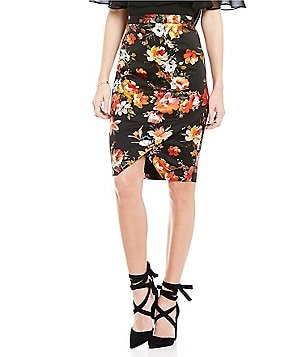 Skies Are Blue Oriental Floral Pencil Skirt