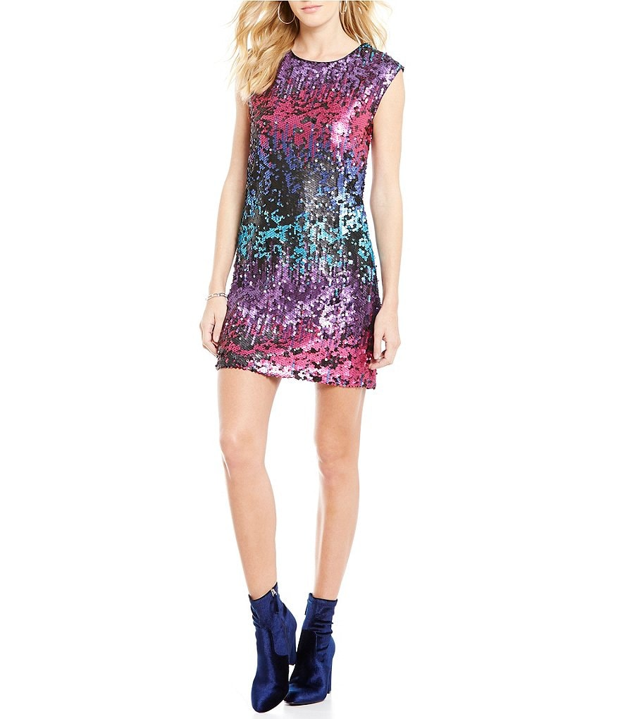 Skies Are Blue Multi Sequin Shift Sleeveless Dress
