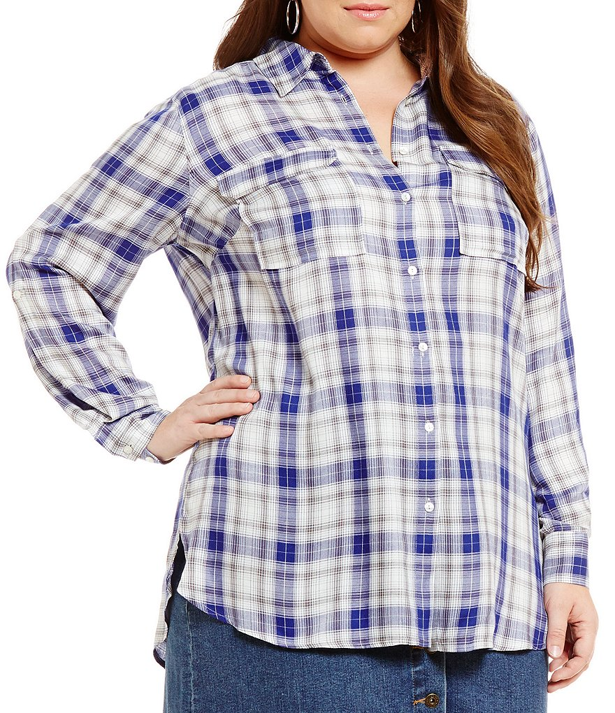 Vince Camuto Plus Canyon Plaid Utility Shirt
