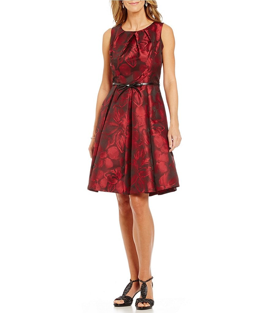 S.L.Fashions Jacquard Crew Neck Sleeveless Fit-And-Flare Dress