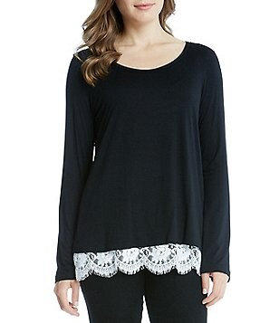Karen Kane Boat Neck Raglan Sleeve Lace Hem Solid Top