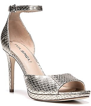 Via Spiga Salina Metallic Snake Print Dress Sandals