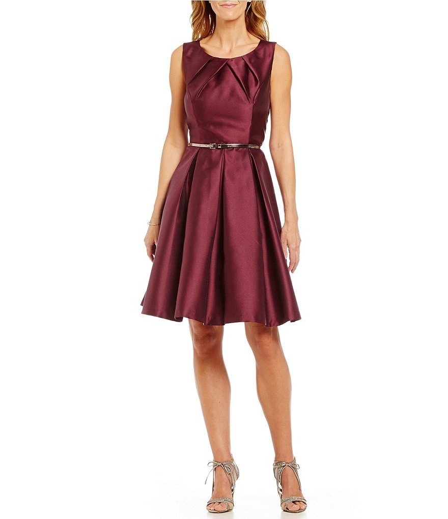 S.L.Fashions Mikado Tuck Neck Sleeveless Belted Fit-and-Flare Dress