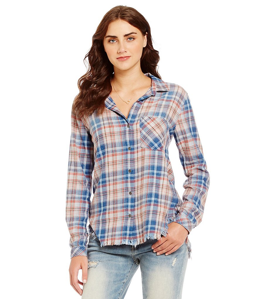 Chelsea & Violet Plaid Frayed Hem Blouse