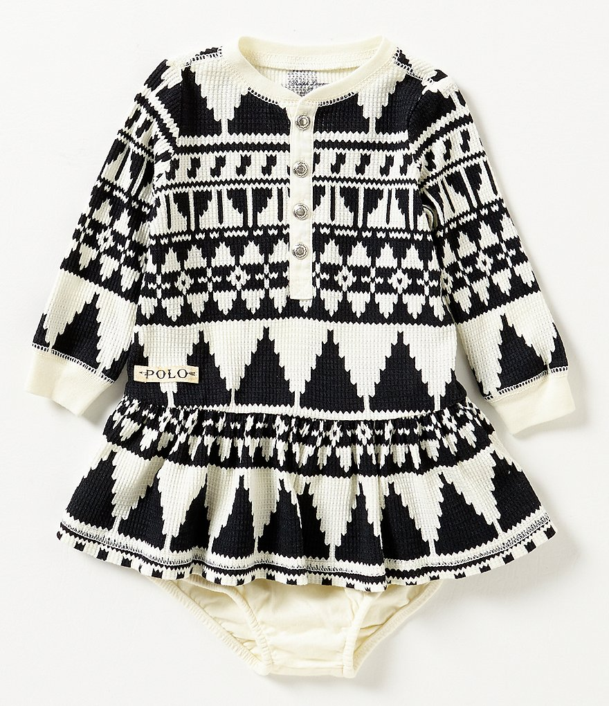 Ralph Lauren Childrenswear Baby Girls 3-24 Months Southwestern-Inspired Printed Waffle-Knit Dress