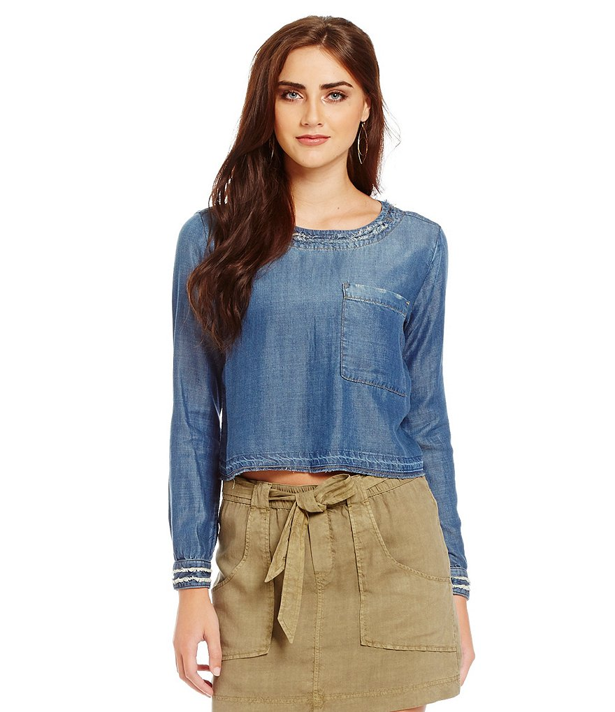 Chelsea & Violet Raw Edge Pocket Top