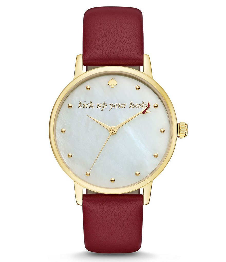kate spade new york Metro Kick Up Your Heels Leather-Strap Watch