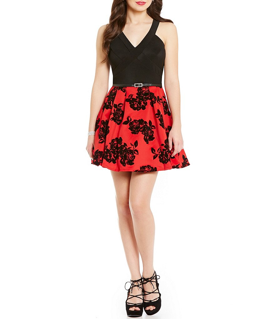 Midnight Doll V-Neck Ottoman Bodice Floral Flocked Skirt Dress