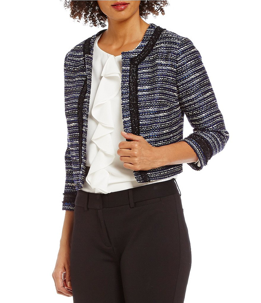 KARL LAGERFELD PARIS Tweed Cropped 3/4 Sleeve Jacket