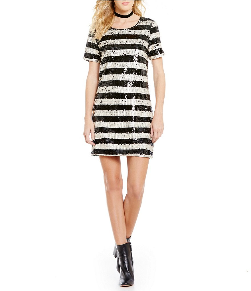 Sugarlips Short Sleeve Stripe Sequin Dress