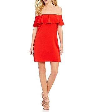 Sugarlips Off-the-Shoulder Ruffle Swing Dress