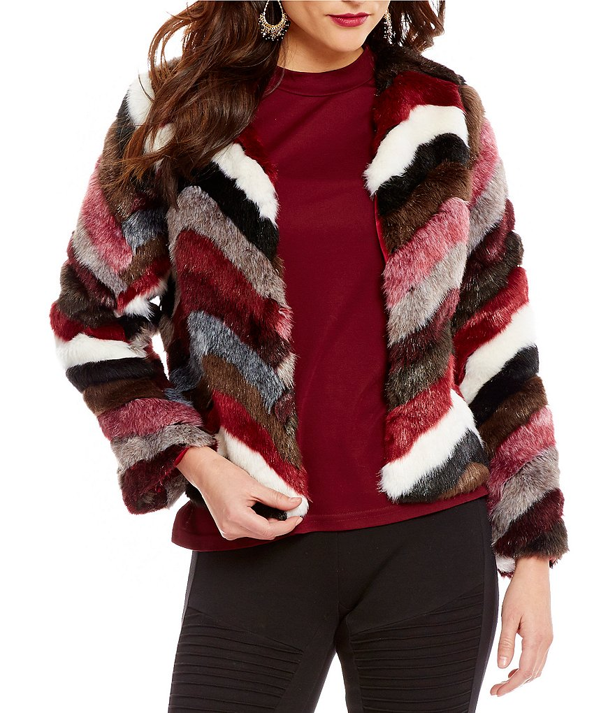 Sugarlips Crew Neck Open Front Chevron Multi Color Faux-Fur Jacket