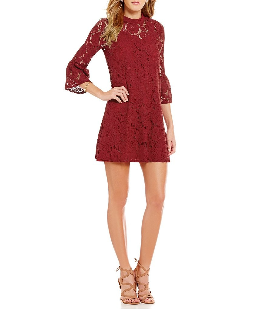Sugarlips Mock Neck Long Sleeve Solid Lace Dress