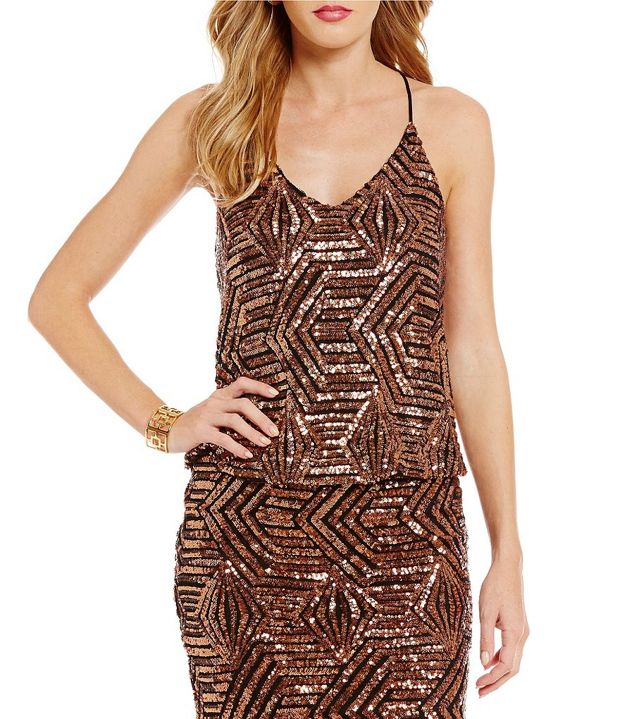 Sugarlips Geometric V-Neck Sequin Tank