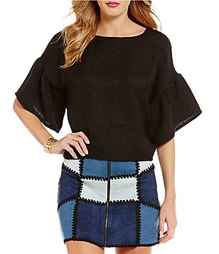 Sugarlips Crew Neck Bell Sleeve Solid Top