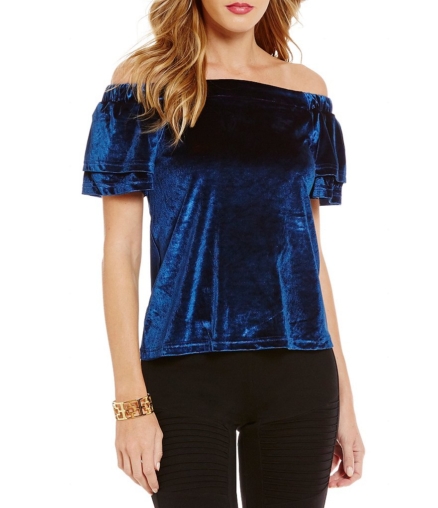 Sugarlips Ruffled Short Sleeve Off-The-Shoulder Velvet Top