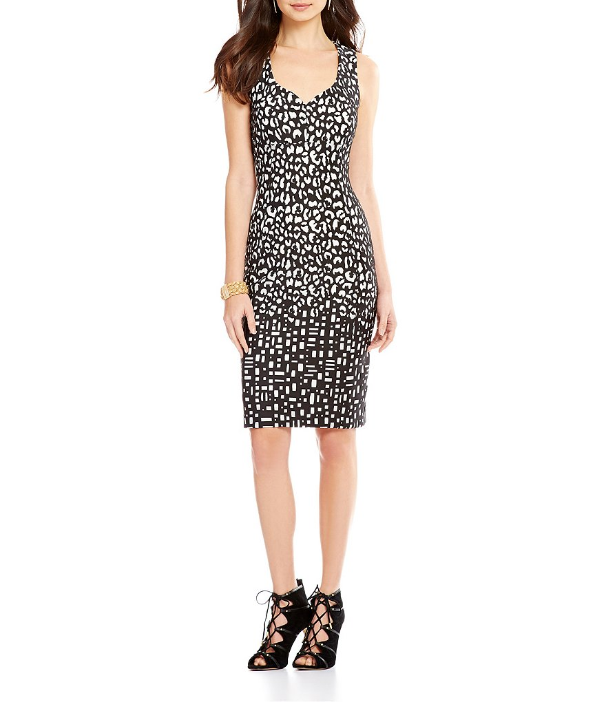 KARL LAGERFELD PARIS Laser Cut Sleeveless Printed Sheath Dress