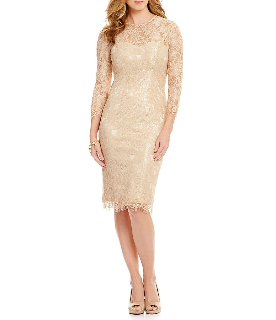 JS Collections Lace 3/4 Sleeve Sheath Dress
