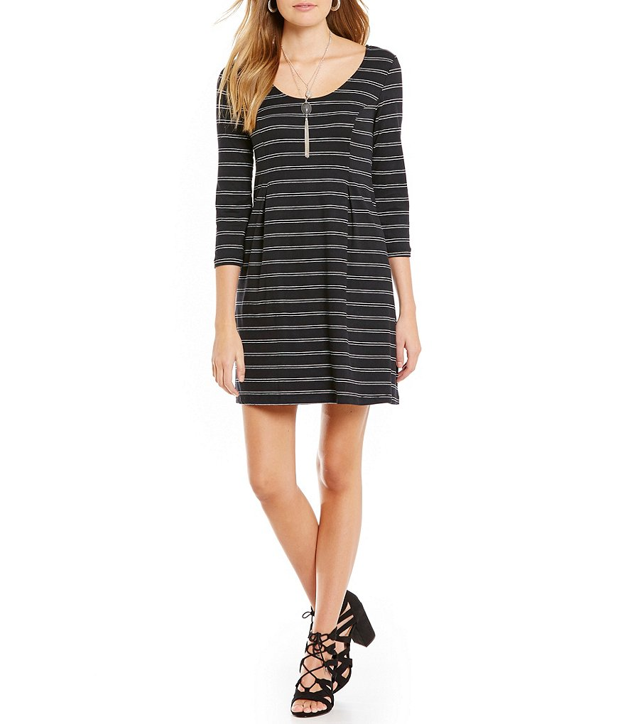 As U Wish Horizontal-Striped Necklace Dress