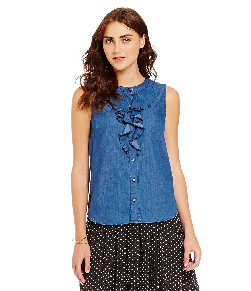 CeCe Front Ruffle Denim Shirt