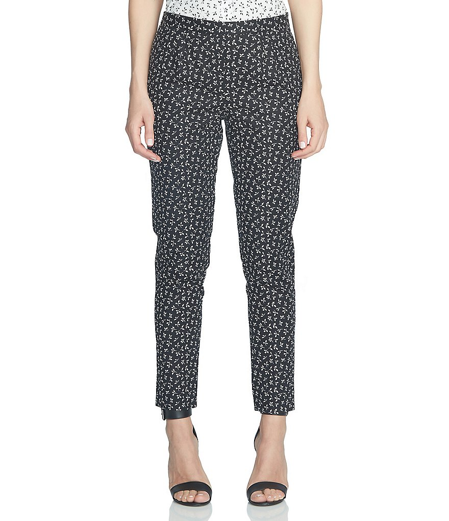 CeCe Double Weave Ditsy Leaf Slim Pant