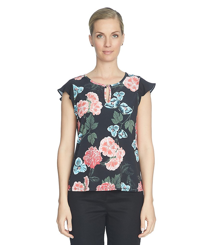 CeCe Flutter Sleeve Bar-Neck Floral Memoir Top