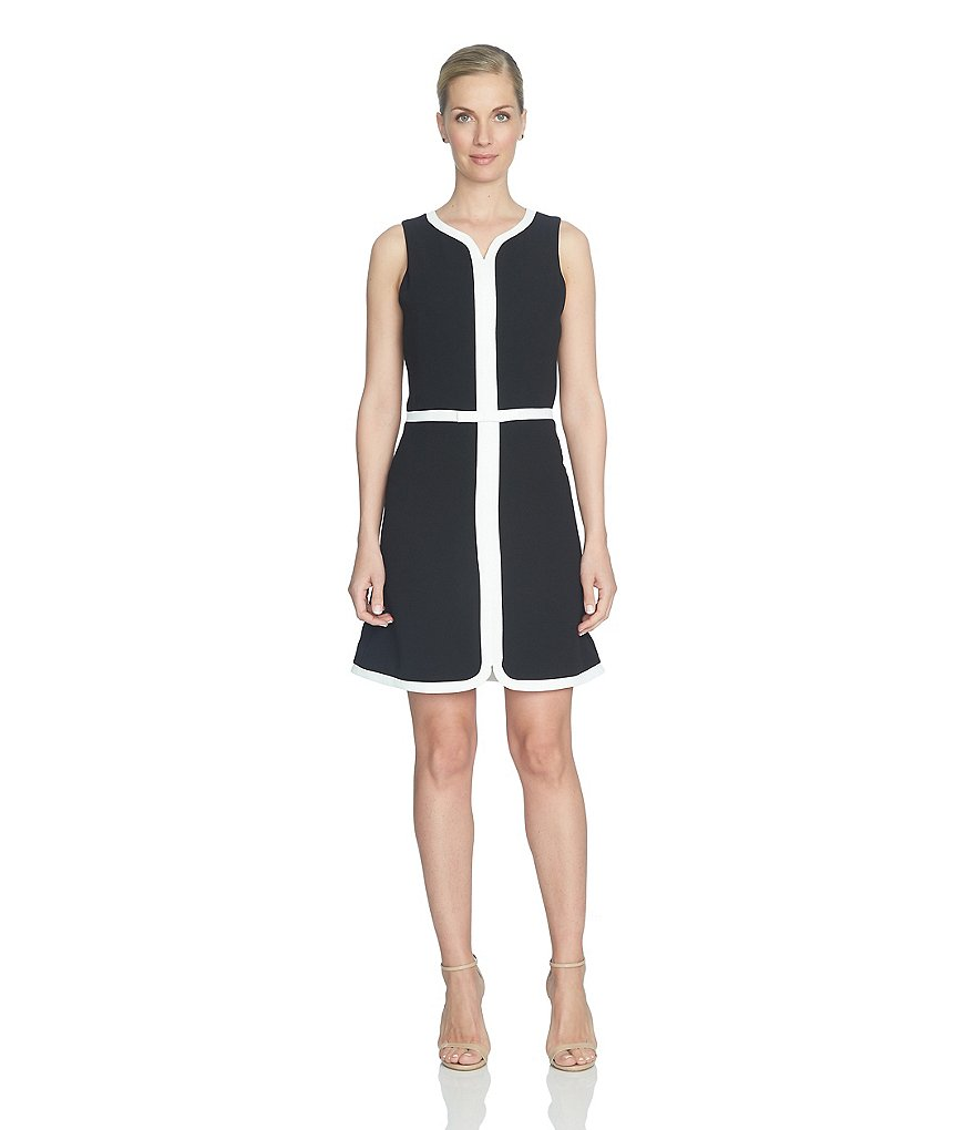 CeCe Moss Crepe Shift Dress with Piping