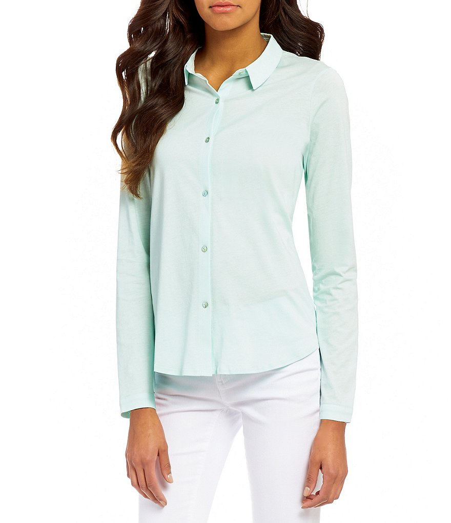 Eileen Fisher Classic Collar Long Sleeve Button Front Solid Shirt