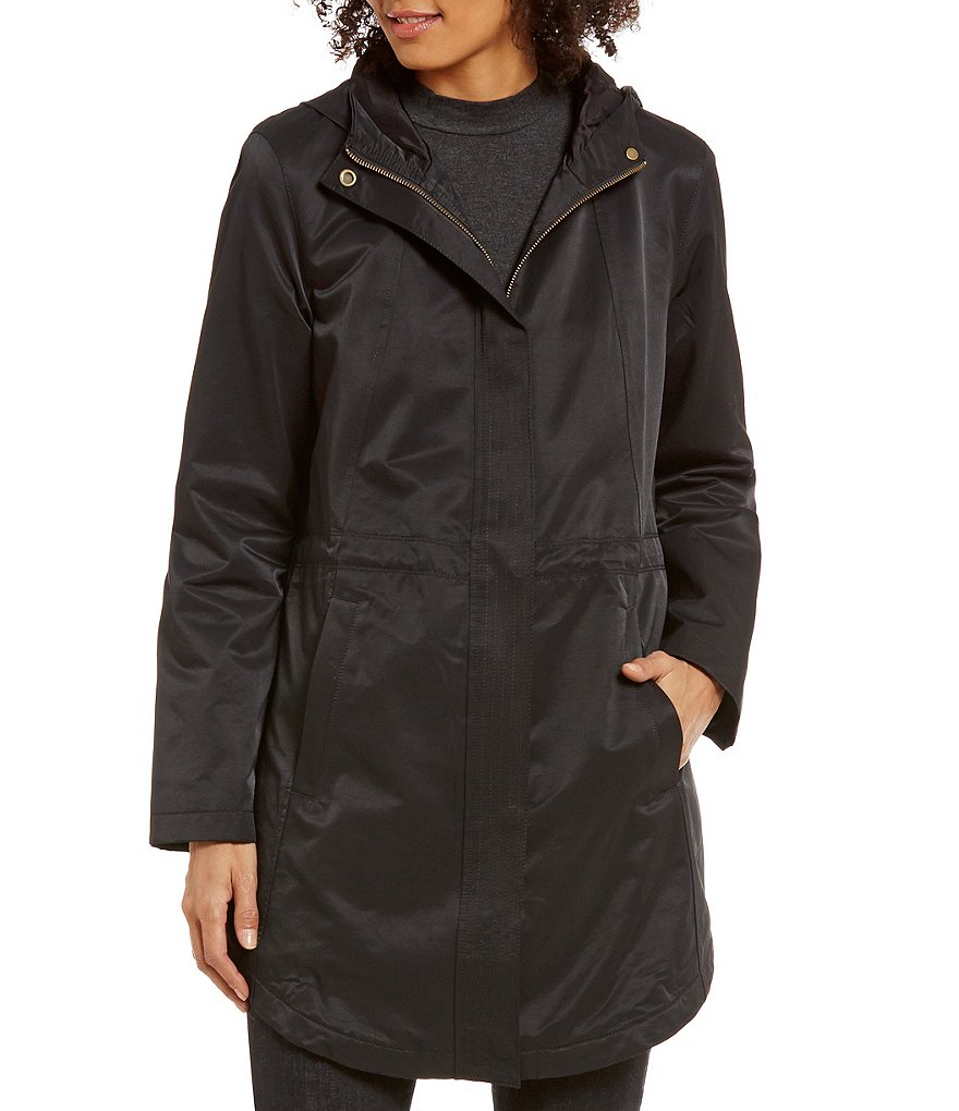 Eileen Fisher Organic Cotton Hooded Funnel Neck Button Front Jacket