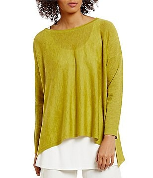 Eileen Fisher Bateau Neck Tencel Alpha Box-Top