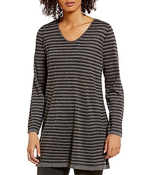 Eileen Fisher V-Neck Long Sleeve Fine Tencel Alpaca Striped Long Tunic